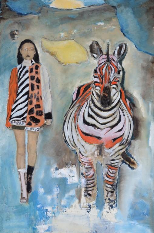 Une fille avec un zèbre - Joce artiste peintre