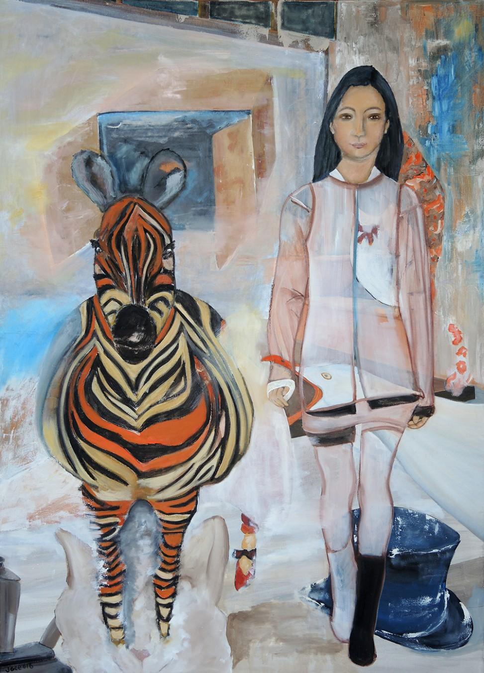 Le zèbre avec la fille - Joce artiste peintre